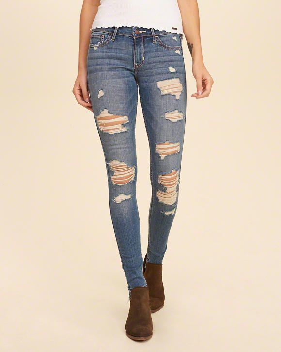 Hollister Shredded Low Rise Super Skinny Jeans Size 1