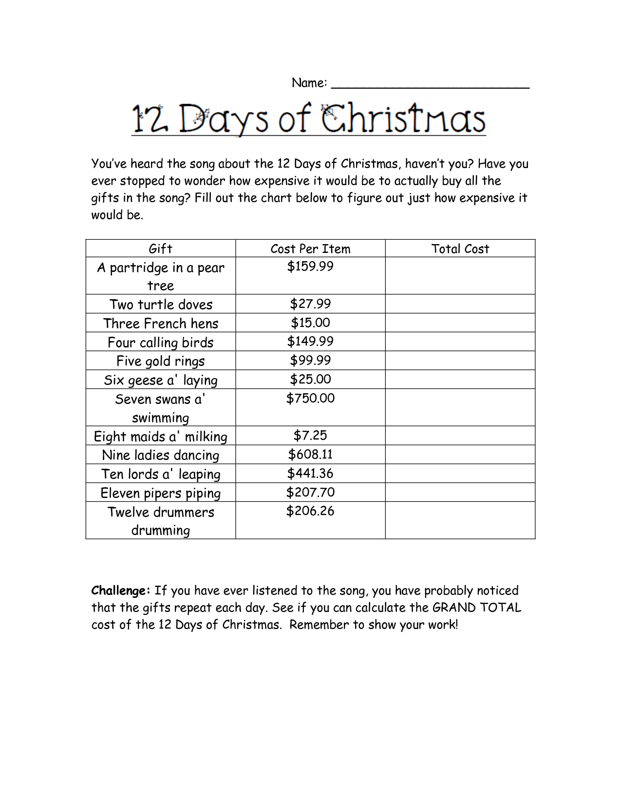 Holiday Math Worksheets