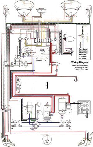 Wiring diagram VW beetle sedan and convertible 19611965 | vw | Pinterest | Vw beetles, Sedans