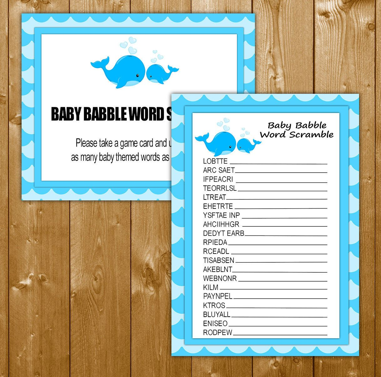 Word Scramble Baby Shower Games Whale Blue Shower Games In Blue Baby Babble Game Printable