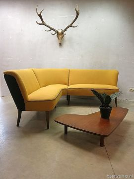 Fifties mid century vintage design zithoek hoekbank lounge bank sofa     Fifties mid century vintage design zithoek hoekbank lounge bank sofa  cocktail stijl