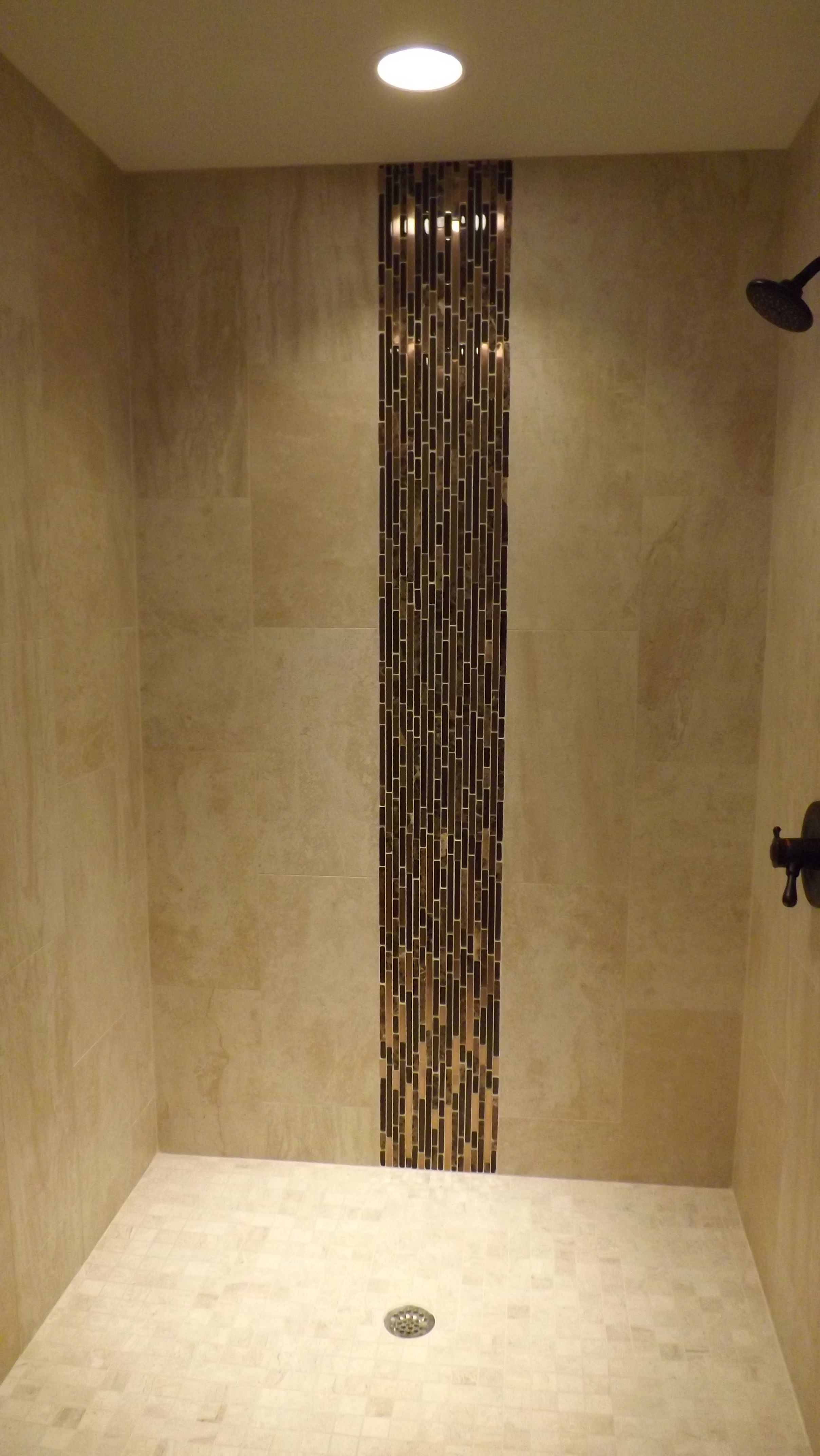 Shower Stall With Vertical Accent Iris Porcelain Field