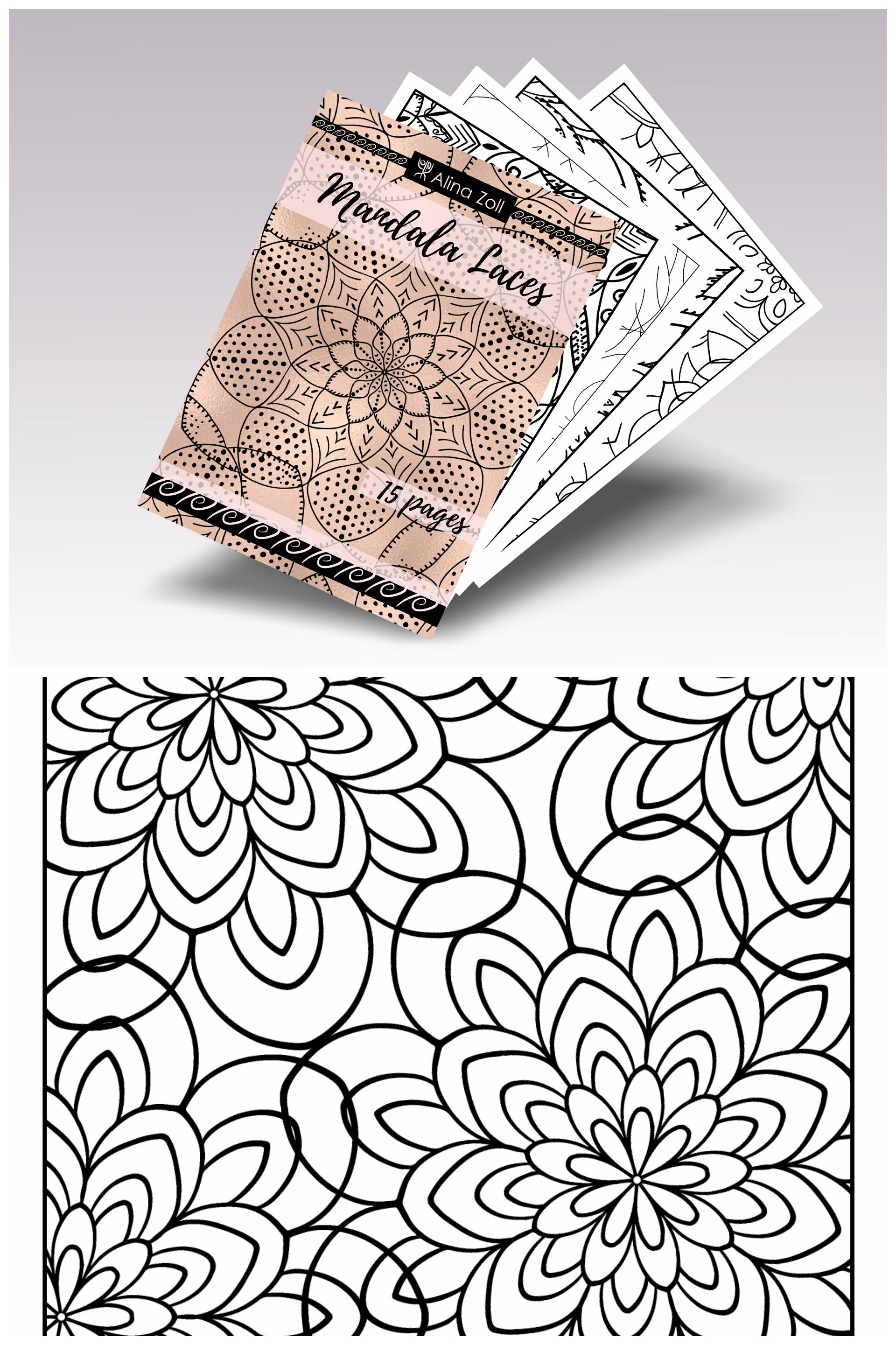Digital Adult Coloring Book Mandala Laces Printable Coloring