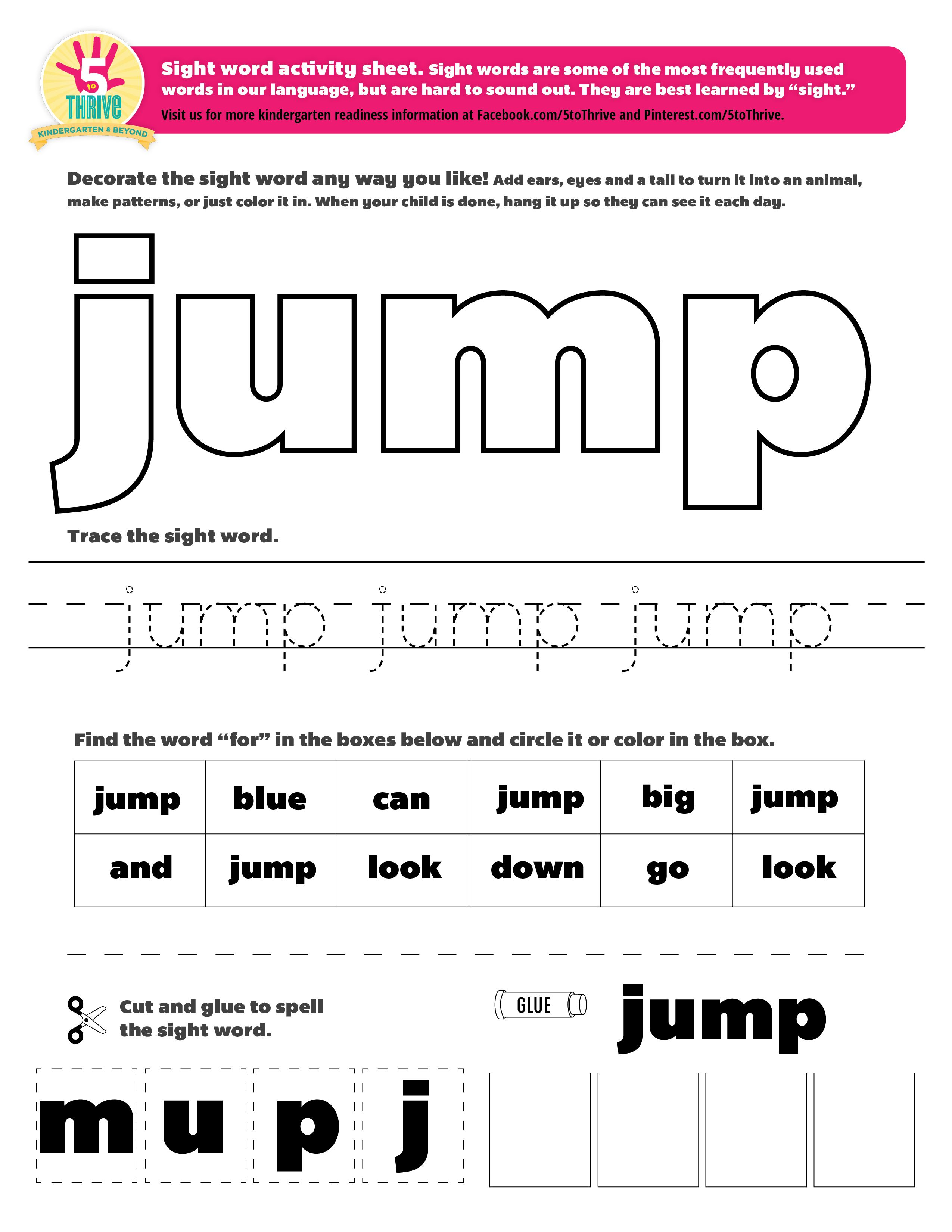 The Sight Word This Week Is Jump Sight Words Are Some Of The Most Frequently Used Words In