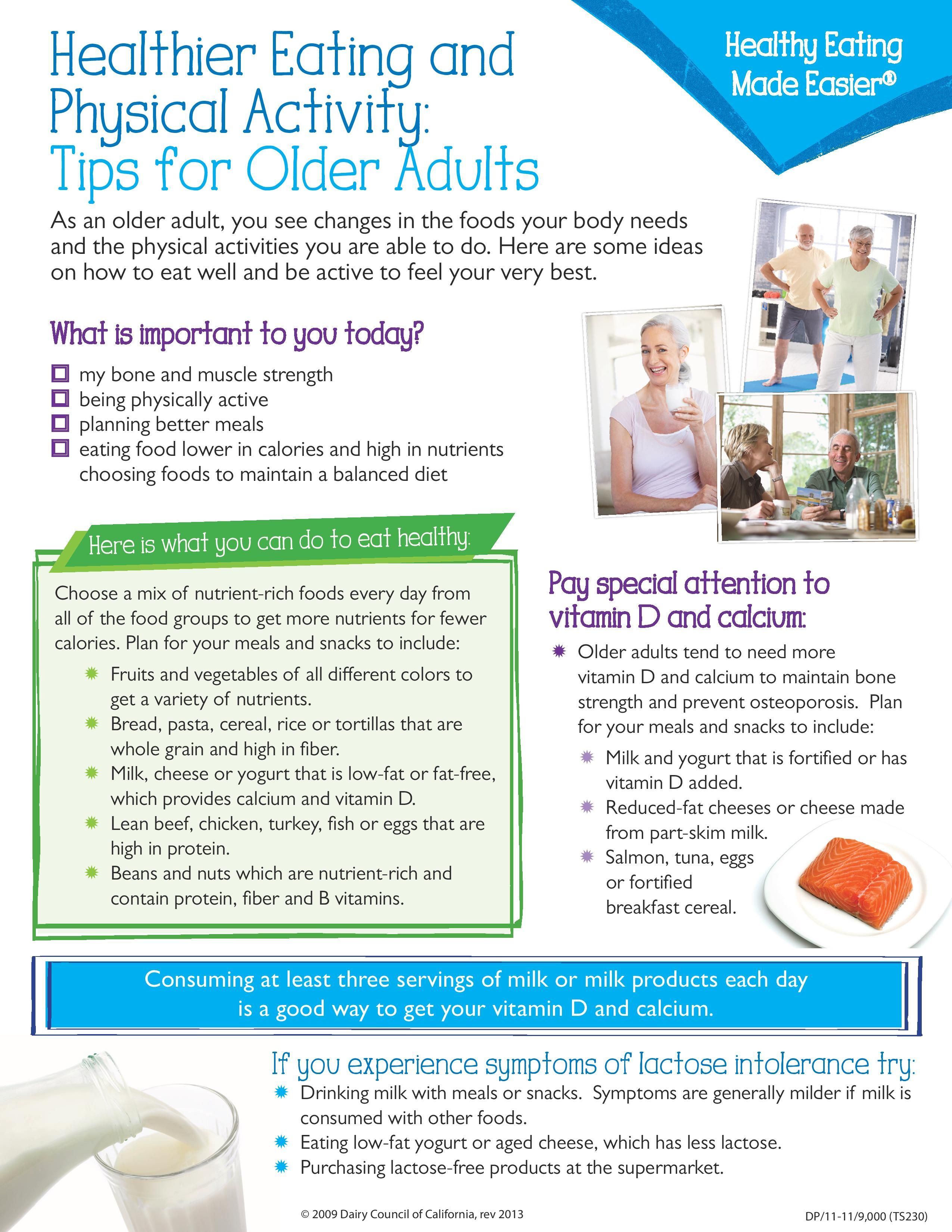 Healthier Eating And Physical Activity Tips For Older