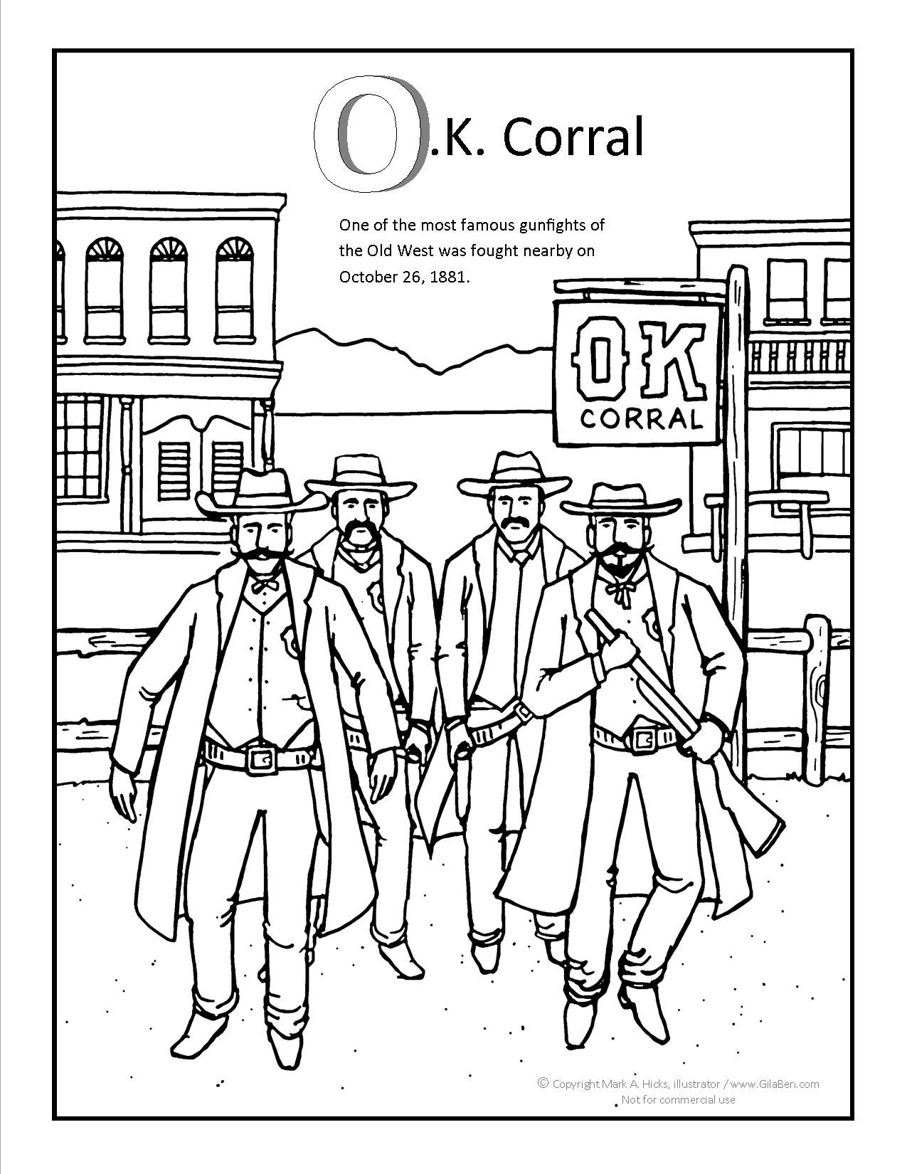 Ok Corral Coloring Page At Gilaben