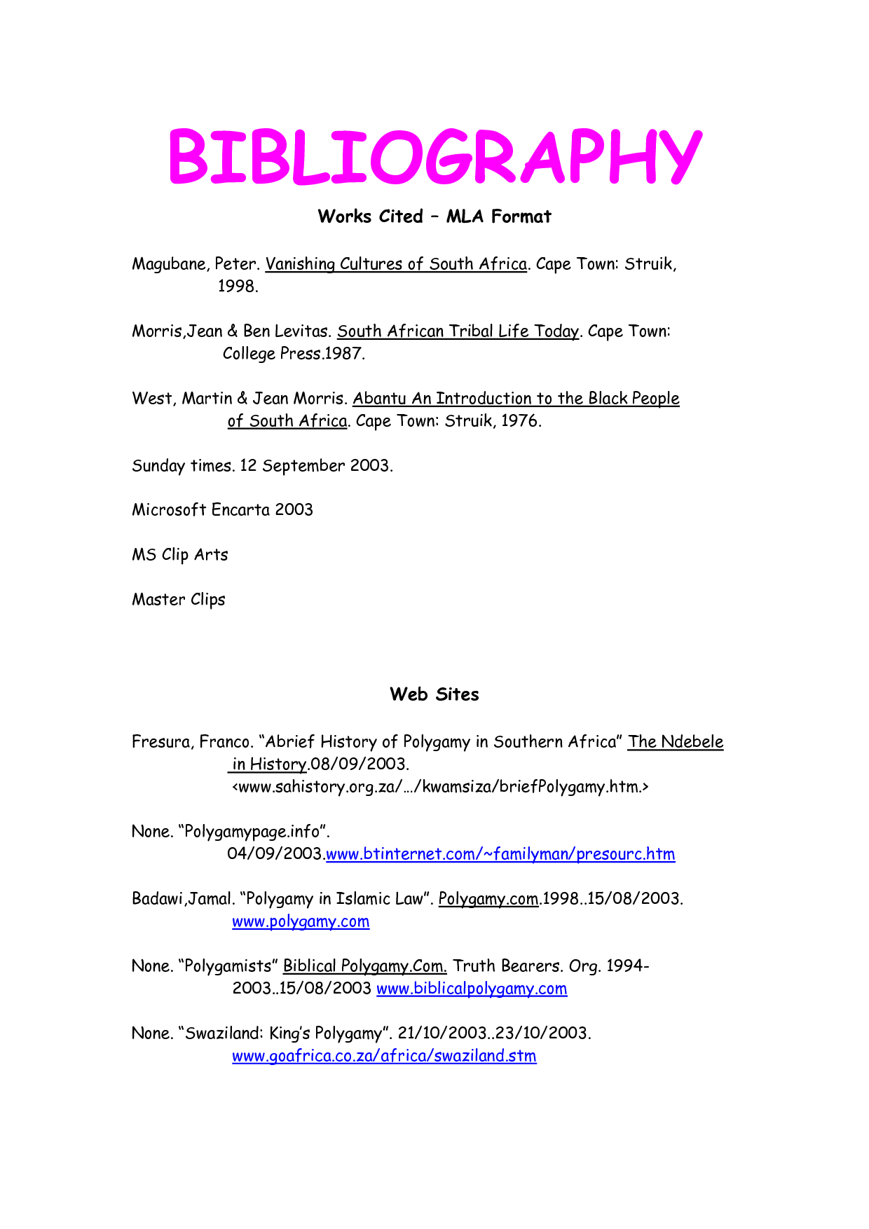 Mla Format Works Cited Template