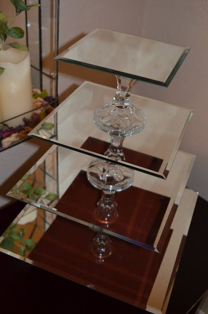 How To Make Cupcake Stand With Mirrors And Candlestick