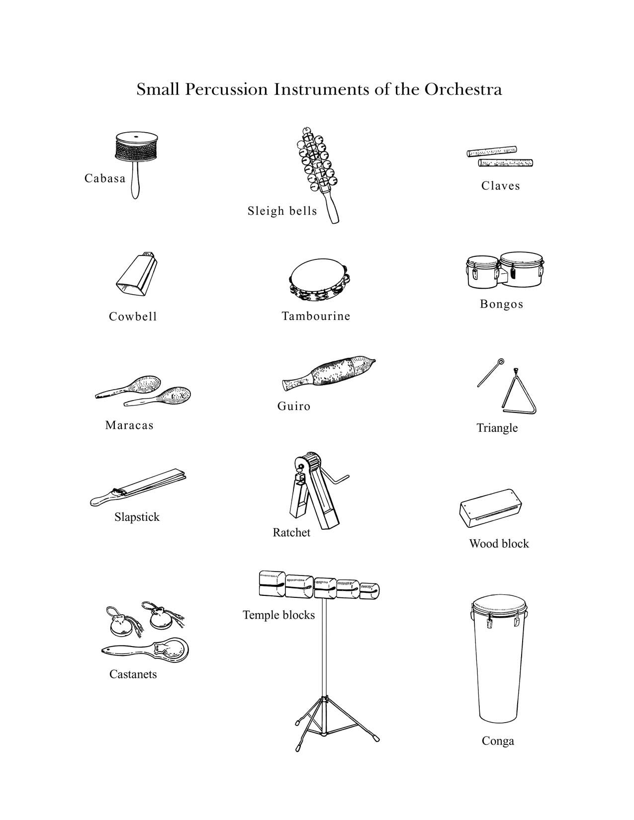 The Percussion Family Small Drawings Of Small Instruments From The Percussion Family By The
