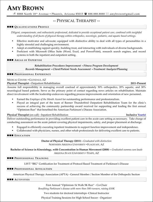 physical therapy resume example the resumes - Physical Therapist Resume Template