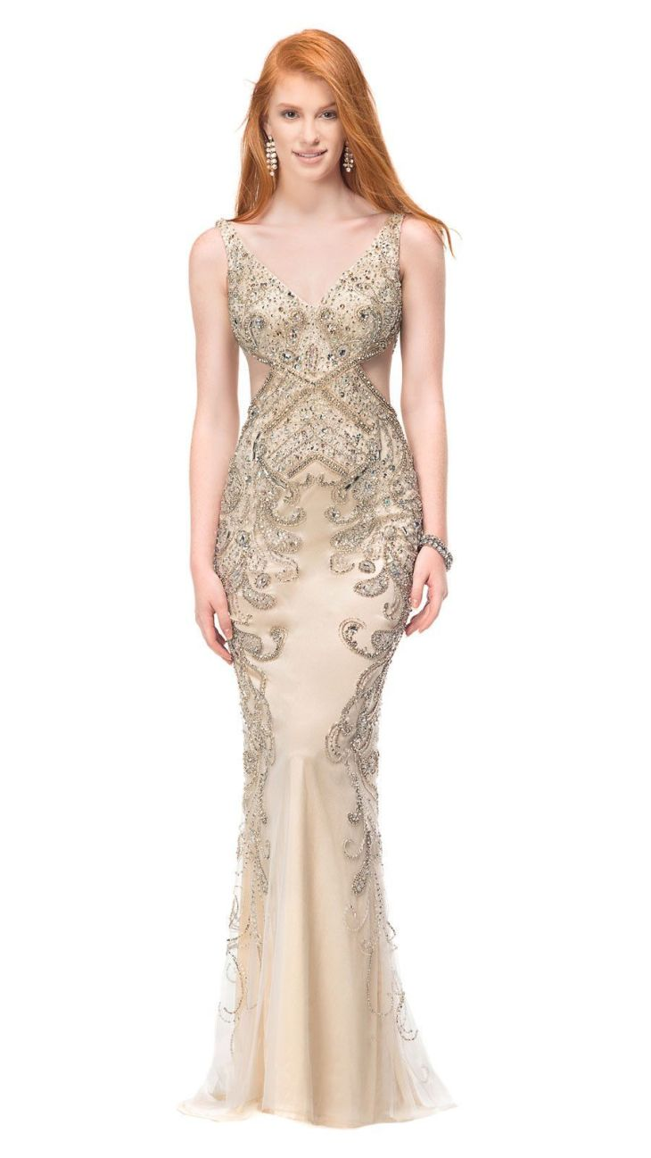 Long Evening Gold Dress Body con Bodies and Gowns
