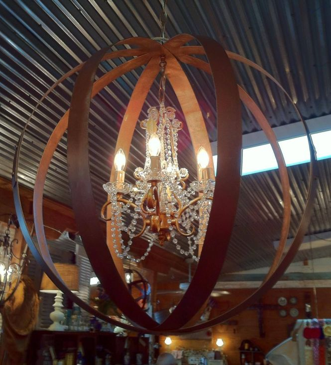 Crystal Chandelier In A Barrel Band Sphere The Bands Were Painted Matte Gold To