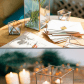 Glass candle holder with mirror base wedding candle holder