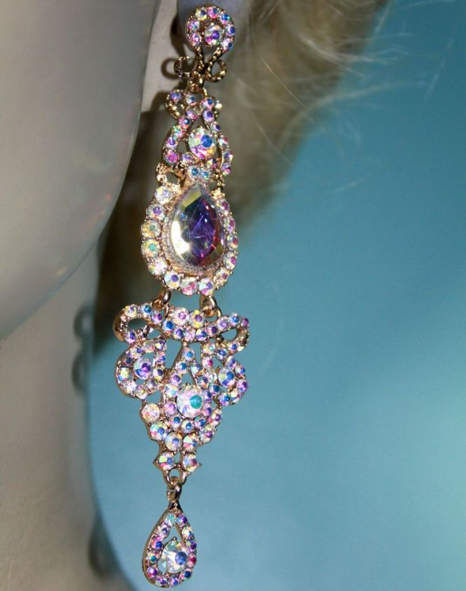 Rhinestone Chandelier Earrings Bridal Prom Pageant 4 Inch Long Ab Gold Tone Unbranded