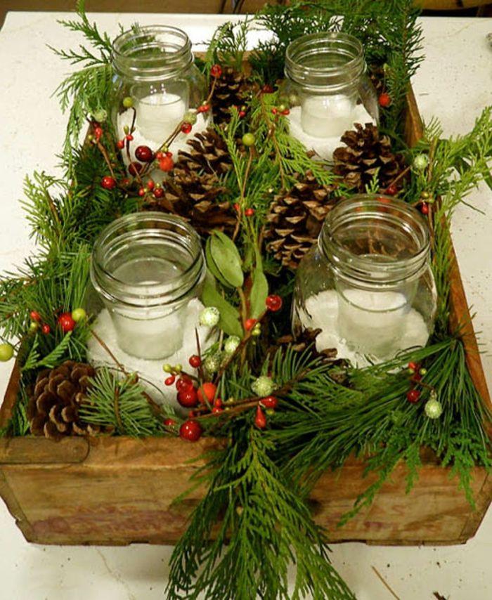 Gläser weihnachtlich dekorieren Adventskranz mit Zweige