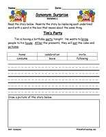Synonym Worksheet