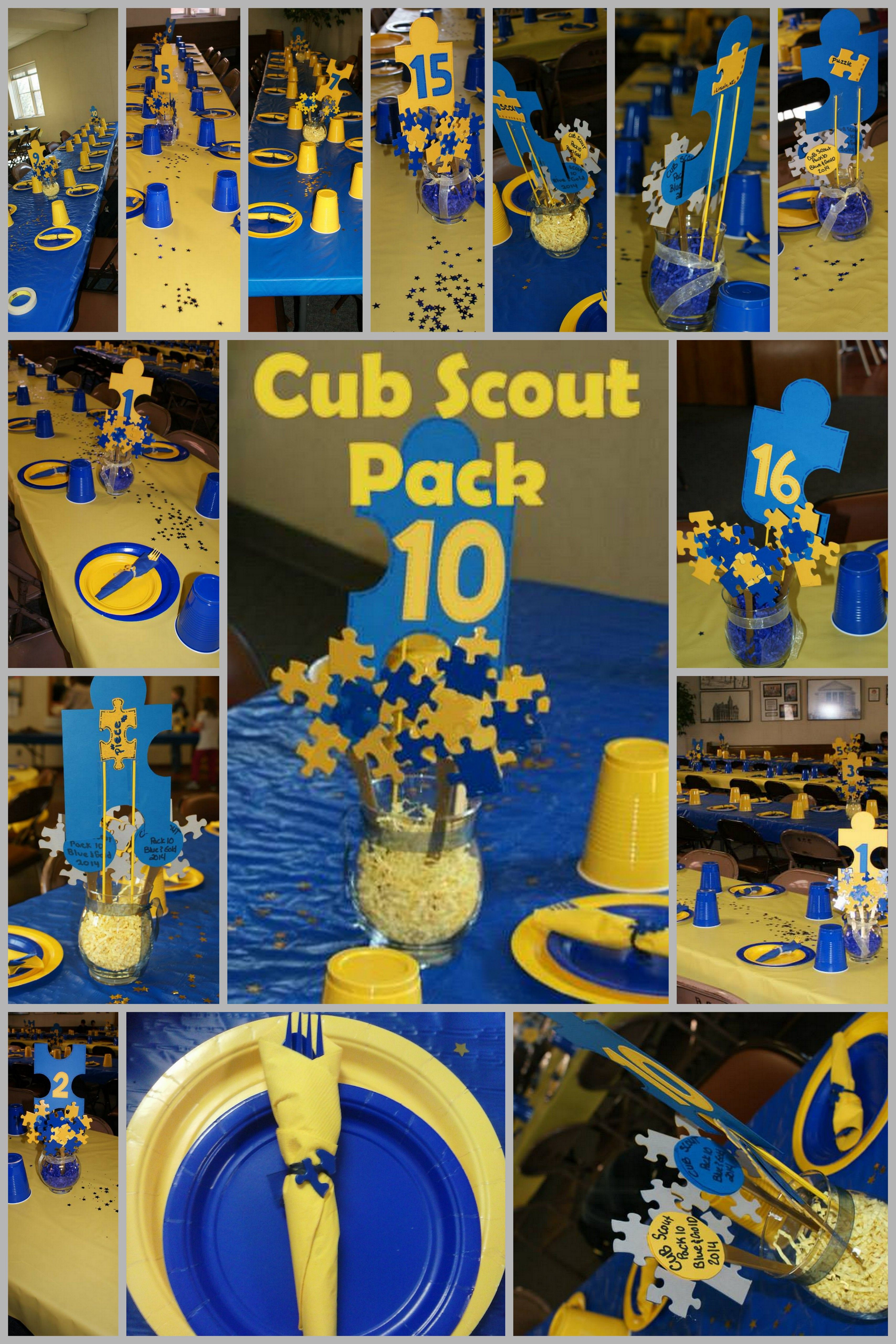 Blue And Gold Puzzle Piece Themed Party For Cub Scout Pack