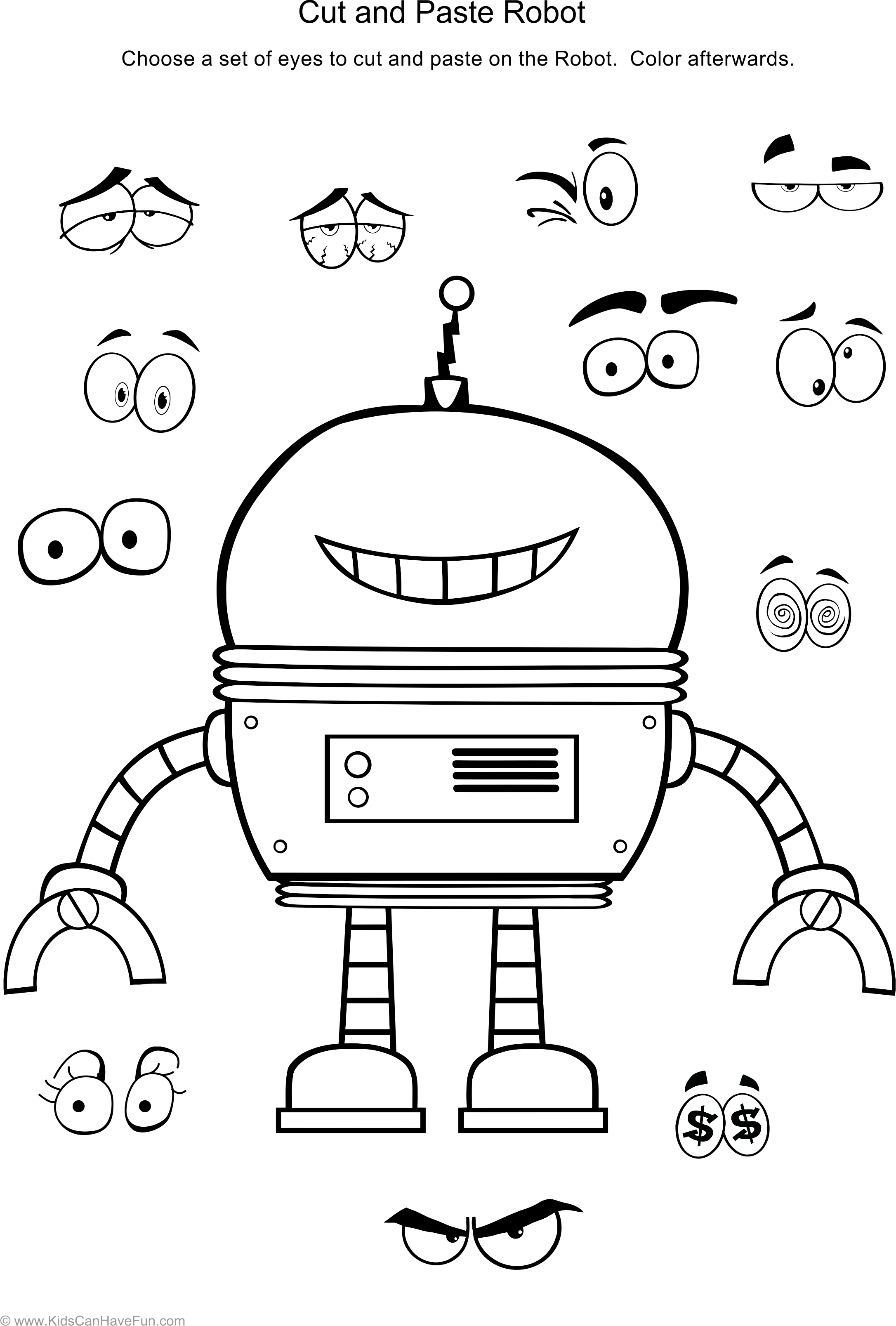 Cut And Paste Robot Worksheet Dscanhavefun