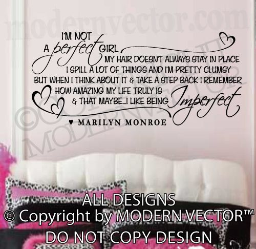 Details About Marilyn Monroe Quote Vinyl Wall Decal I M Not A Perfect Stickers