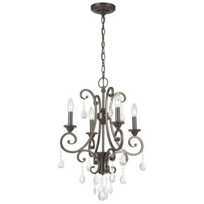 Hampton Bay 4 Light Oil Rubbed Bronze Small Crystal Chandelier Ihn9114a At The Home