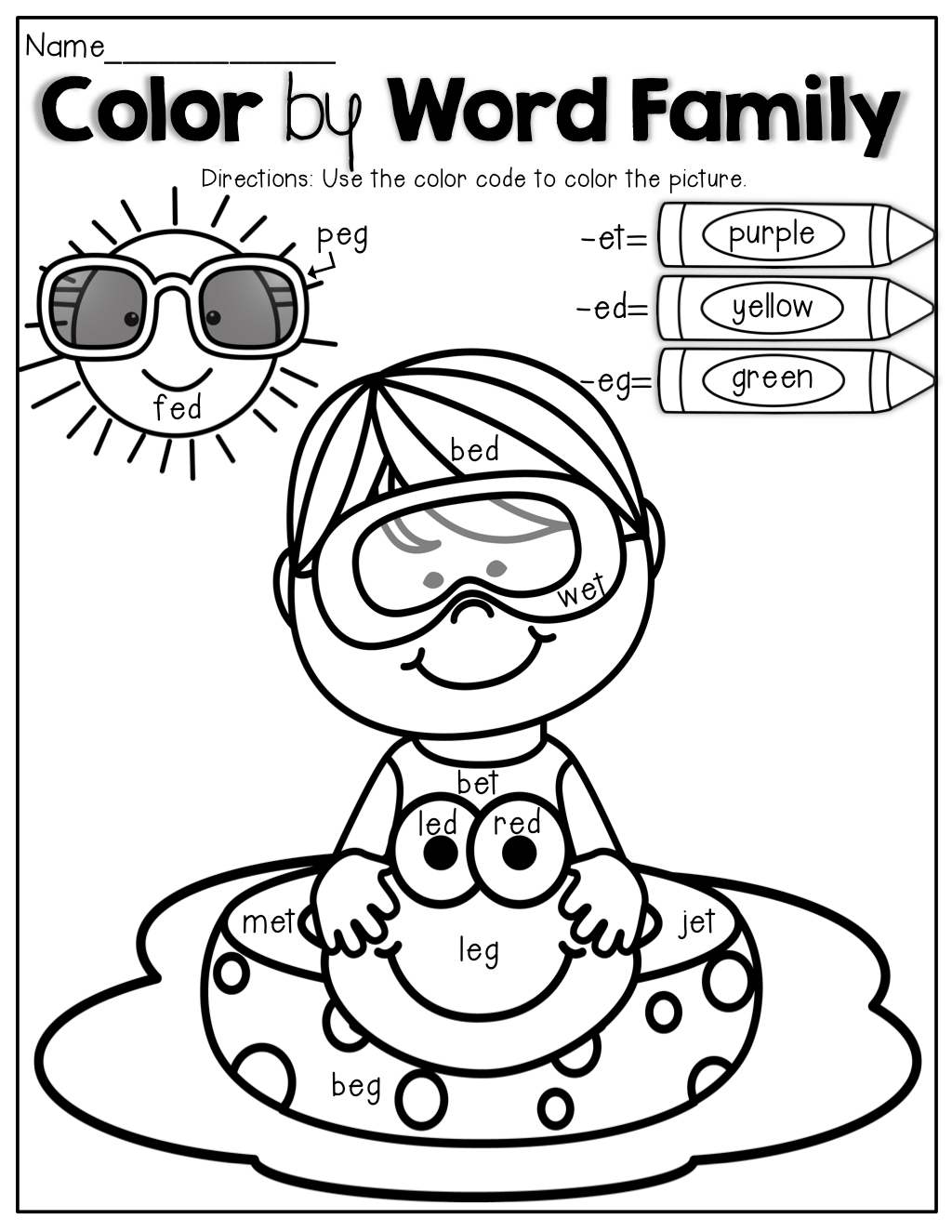 Color By Word Family An Educational Coloring Book That Helps Kids Work With 60 Word Families
