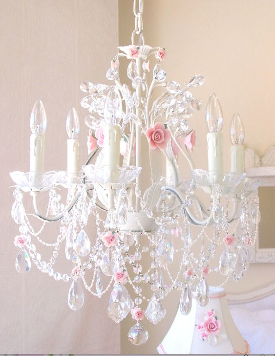 Your 6 Light Crystal Chandelier With Pink Porcelain Roses Here The Is Exceptional