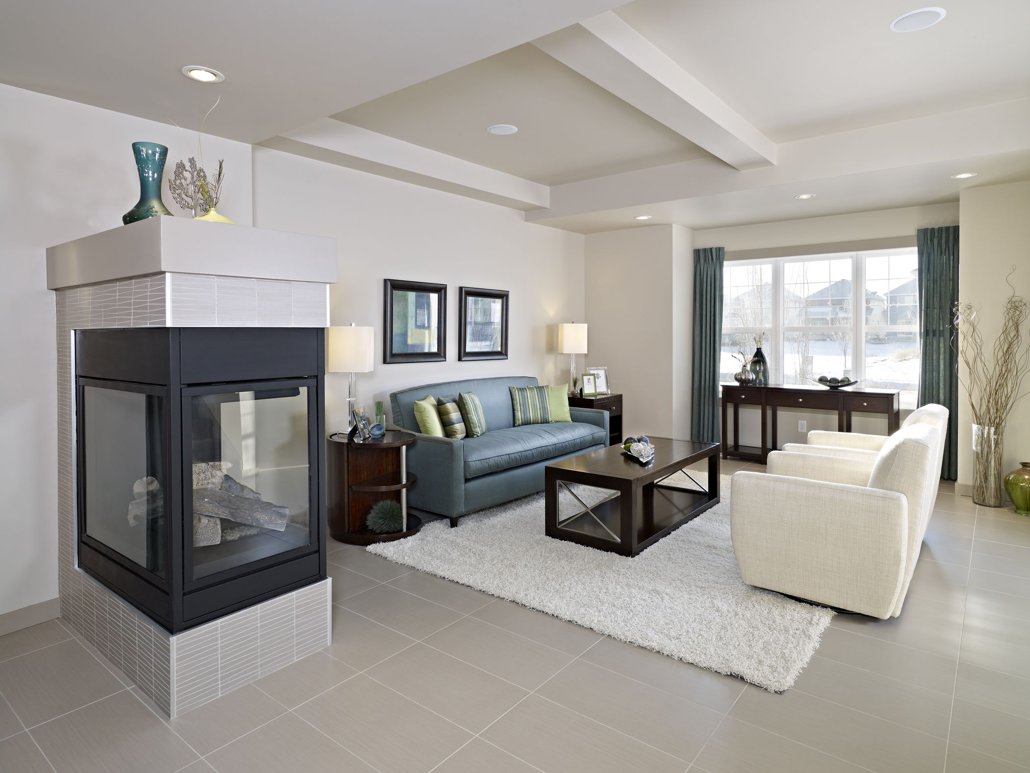 Lovely Three Sided Fireplace