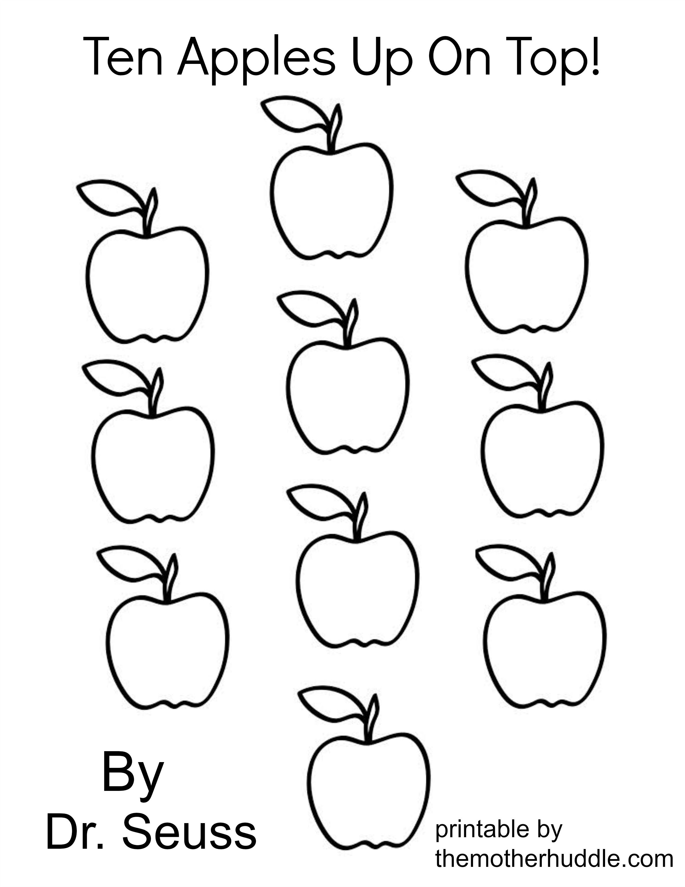 Ten Apples Up On Top Dr Seuss Coloring Page