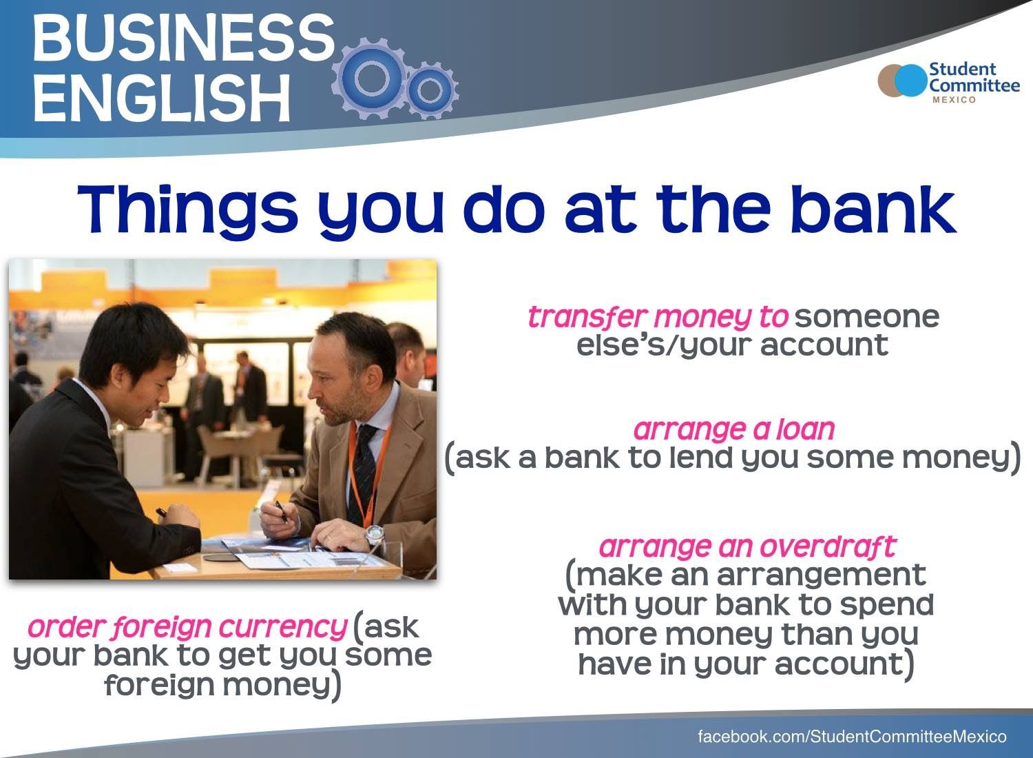 Things You Do At The Bank Business English