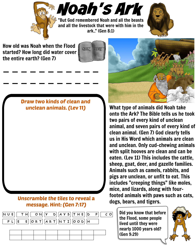 Which Animals Went Into Noahs Ark Noah S Ark Worksheet