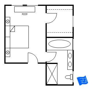 master bedroom floor plan with the entrance straight into the