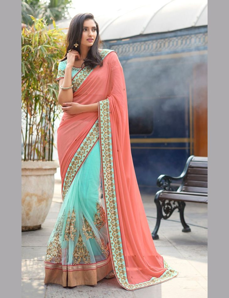 Buy Peach Georgette Half and Half Saree With Blouse with