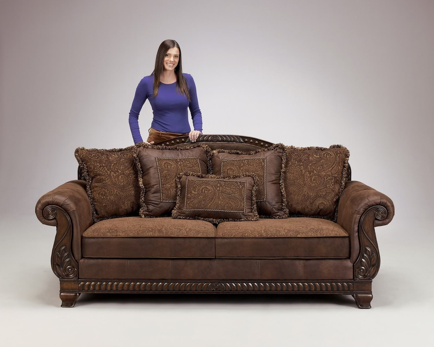 Truffle Traditional Sofa Set Old World Couch Wood Trim