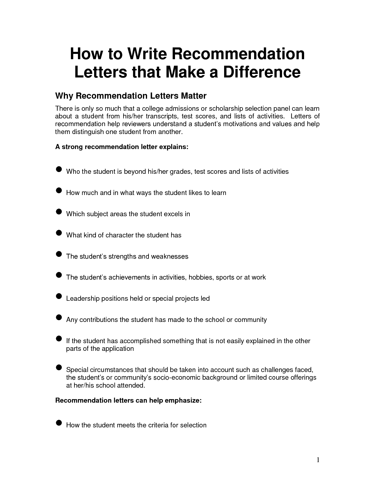writing recommendation letter for college admission