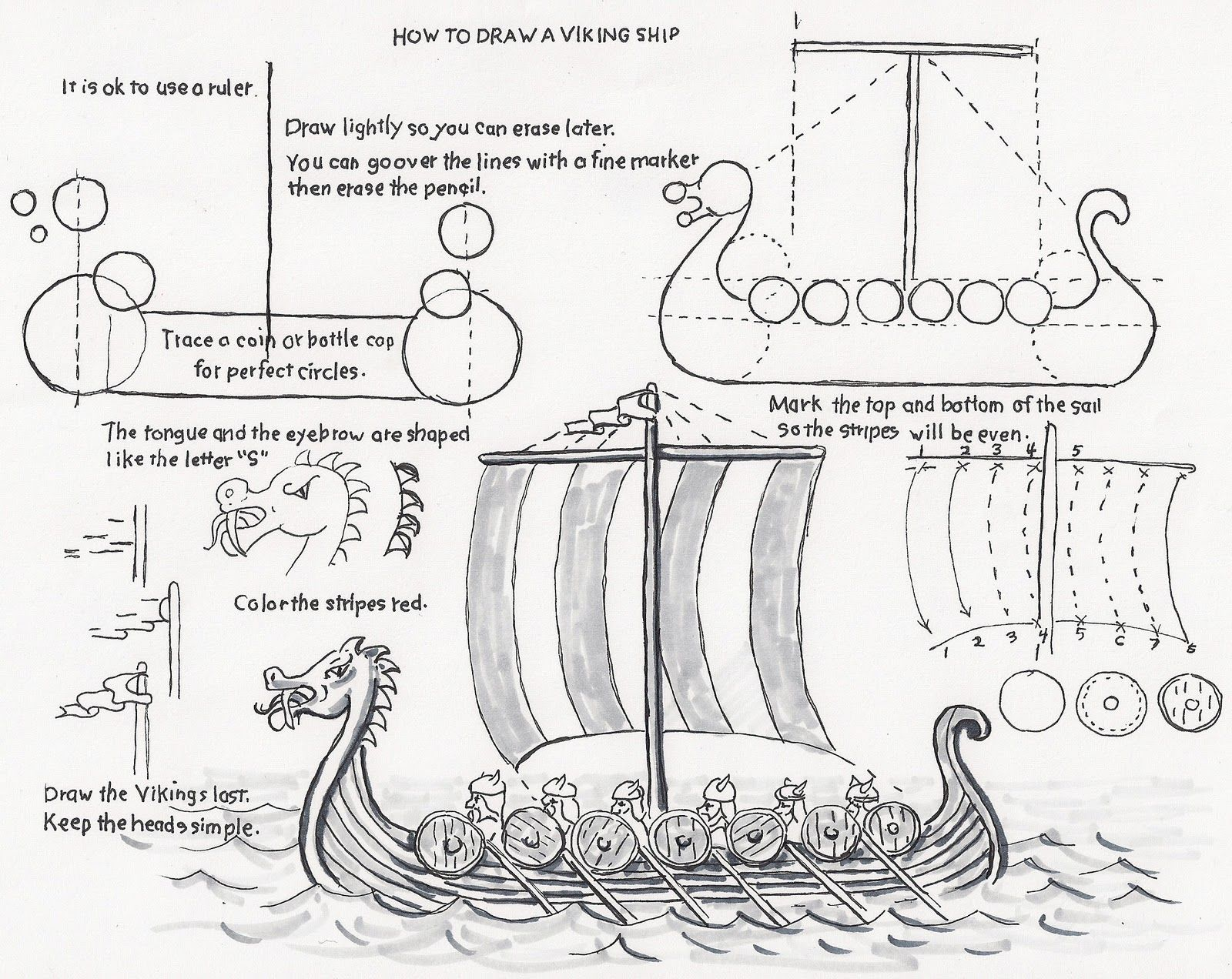 How To Draw A Viking Ship A Lesson For The Young Artist