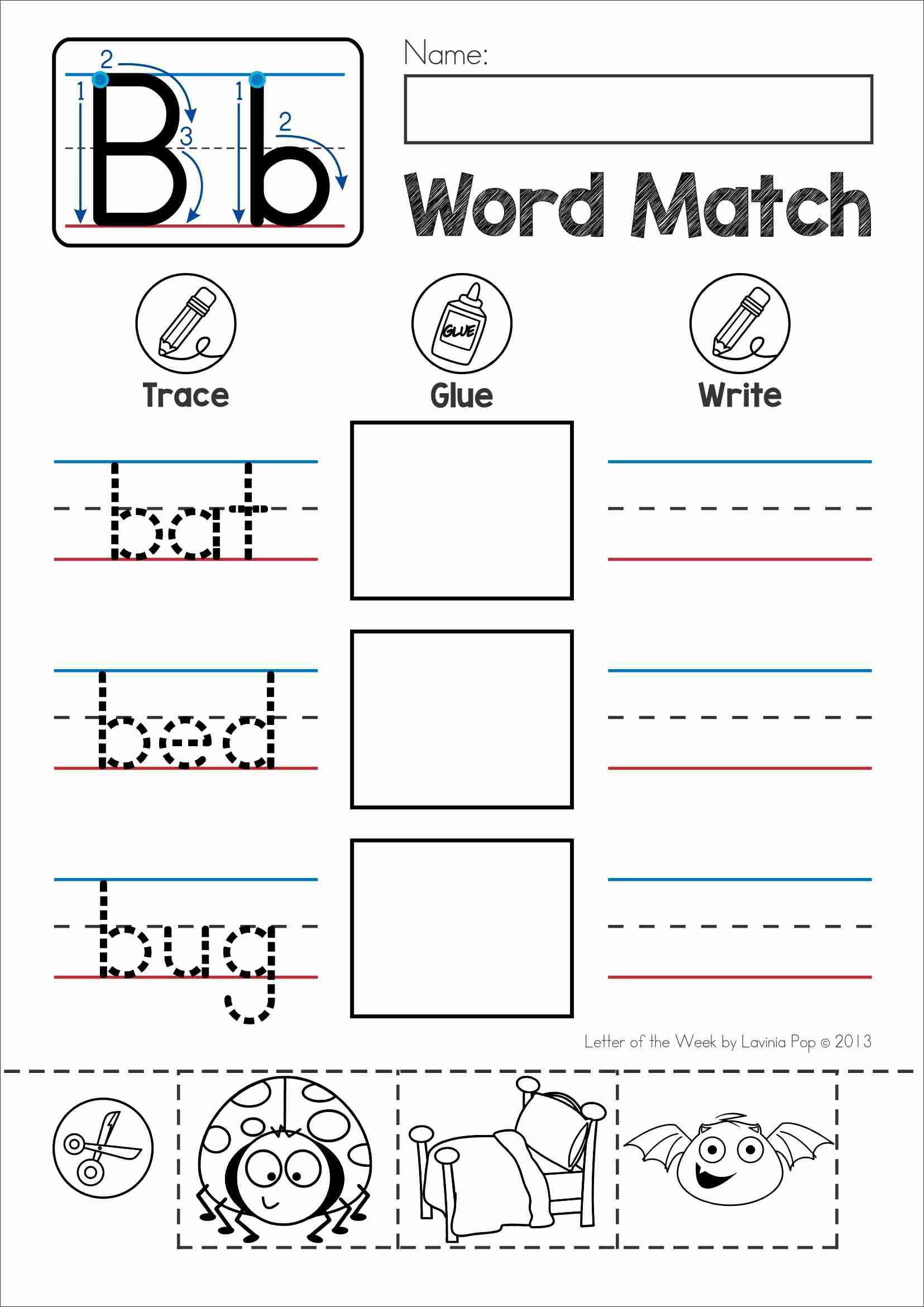 Free Phonics Letter Of The Week B Word Match Cut And Paste
