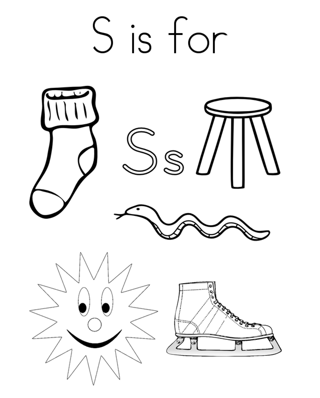S Words Coloring Pages
