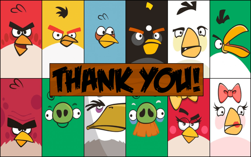 Angry birds thank you card front side free printable