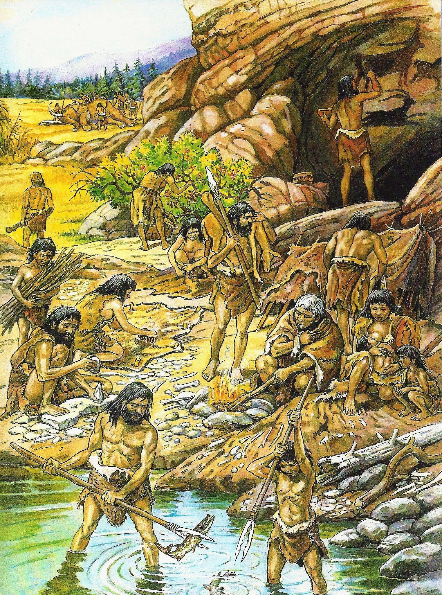 Werkzaamheden In De Oude Steentijd Paleolithicum