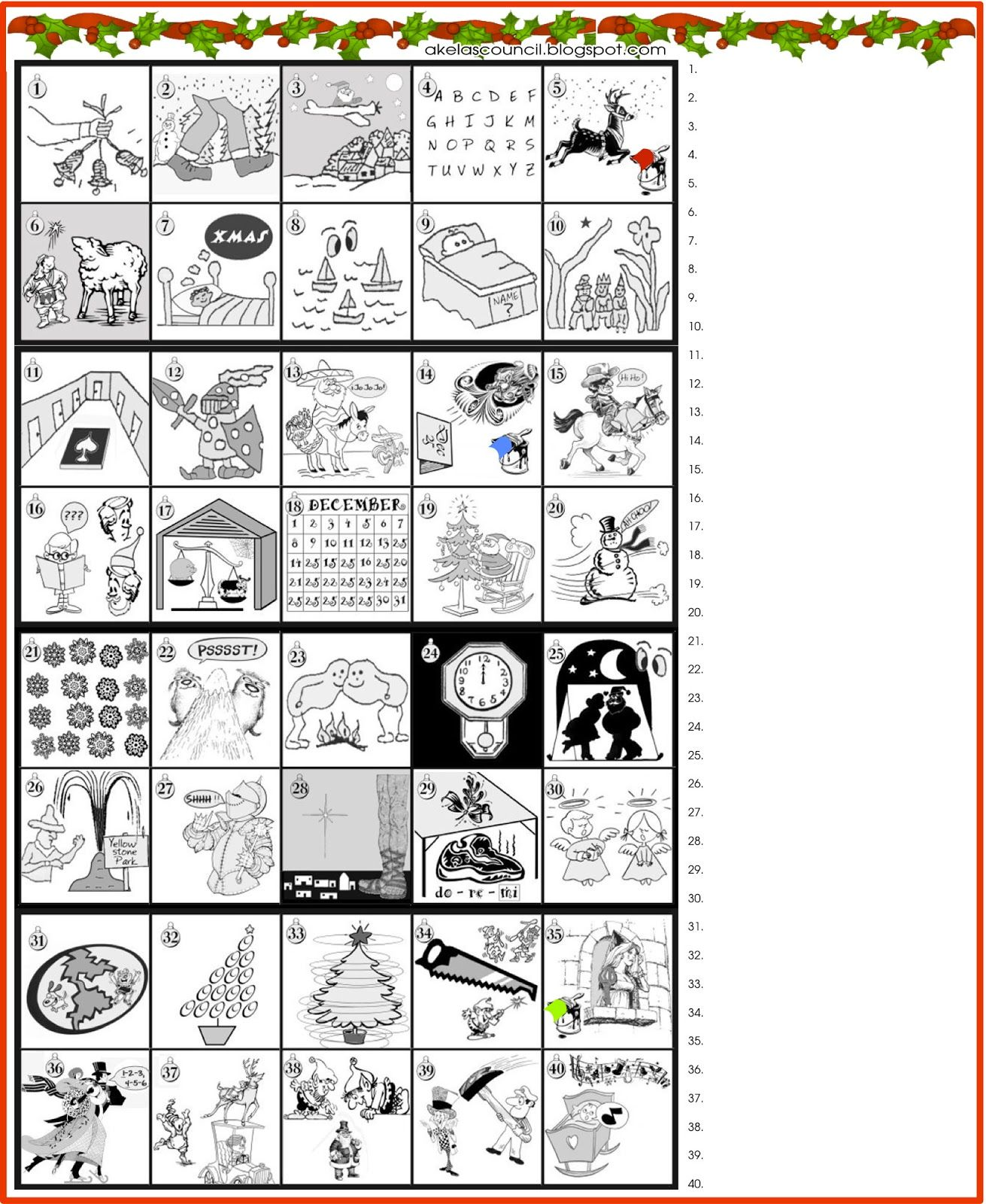Printable Guess The Christmas Songs Or Carols Word Puzzle Preopener