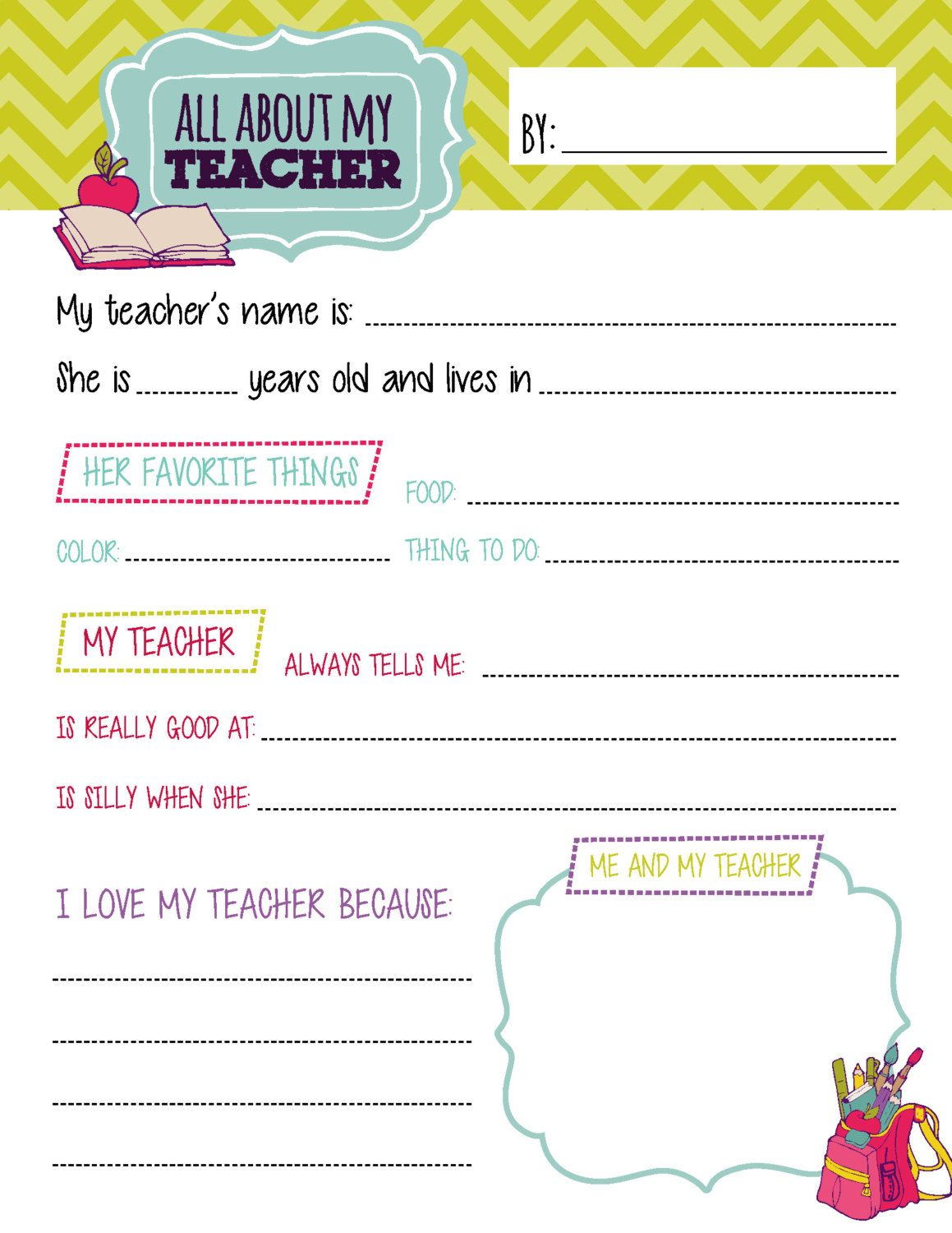 All About My Teacher Questionnaire Printables By