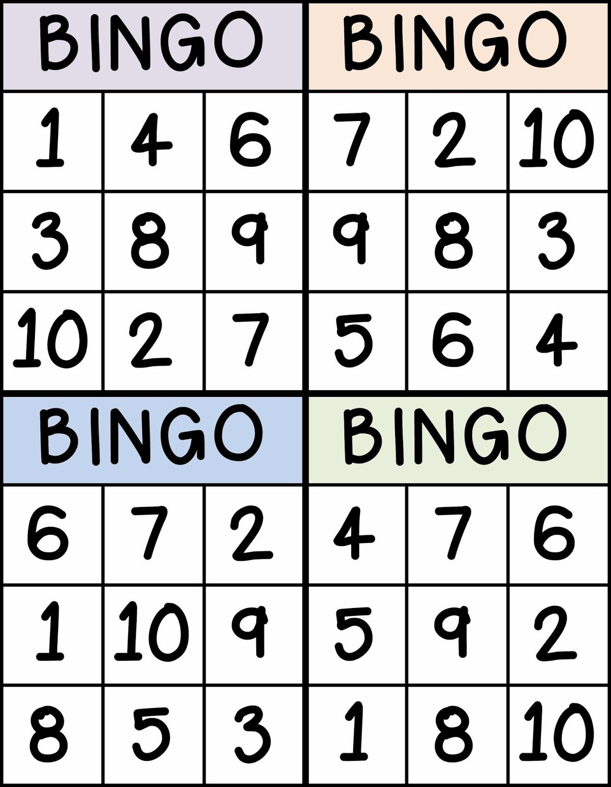 Bingo For Numbers 1 10 Great For Preschool Number