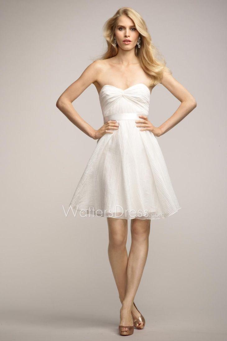 strapless twist neck short ivory chiffon bridesmaid dress  Beach