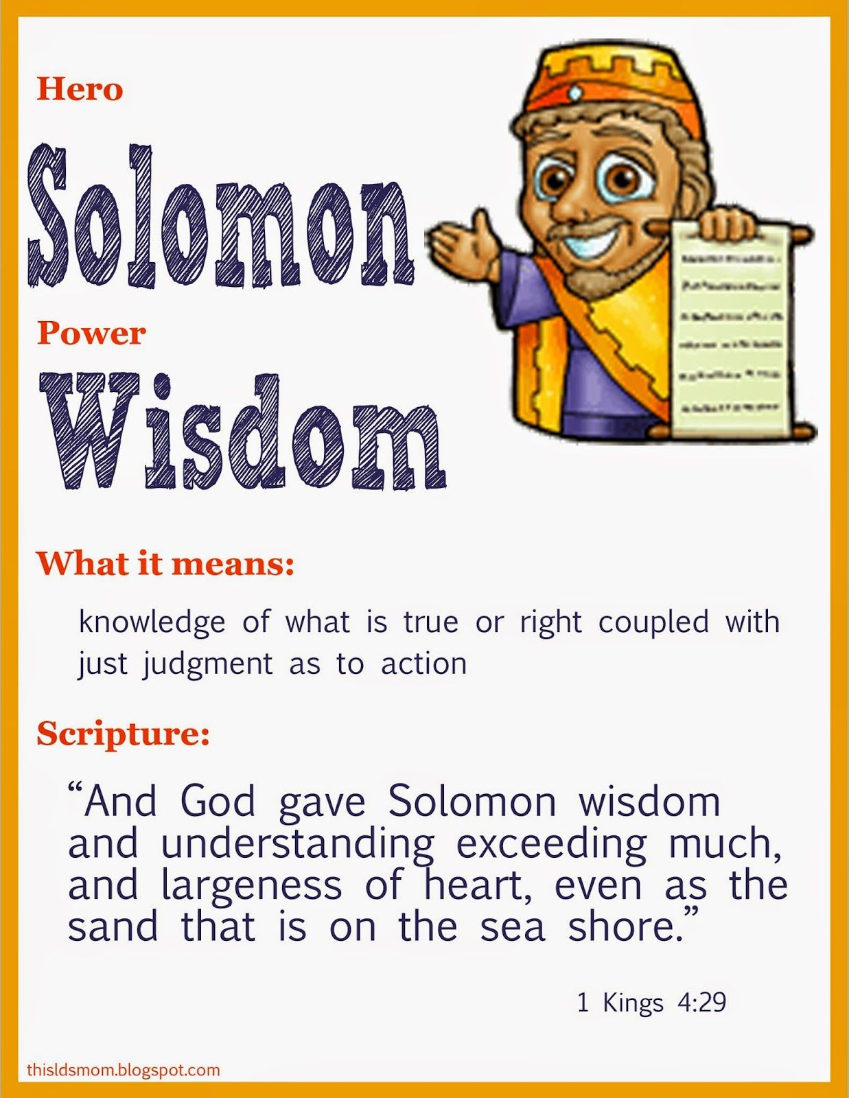 This Lds Mom Scripture Heroes King Solomon
