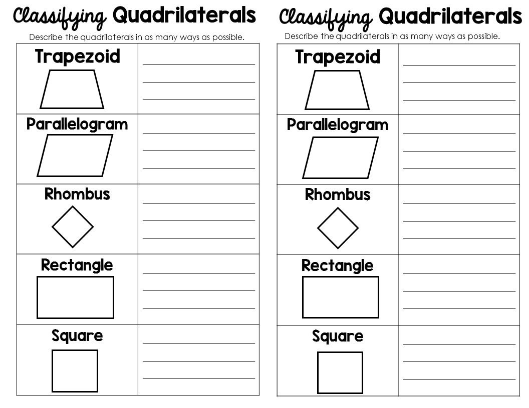 Comparing Quadrilaterals Worksheet