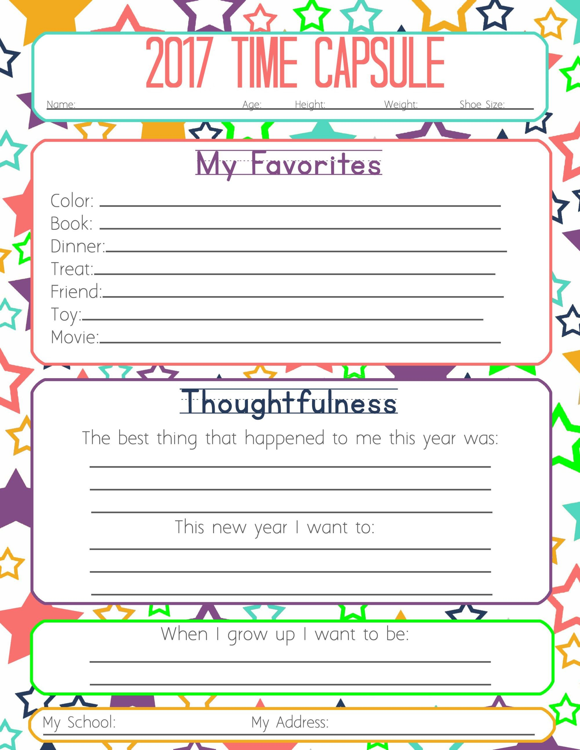 New Years Resolution Amp Time Capsule Worksheets And Activities For Kids