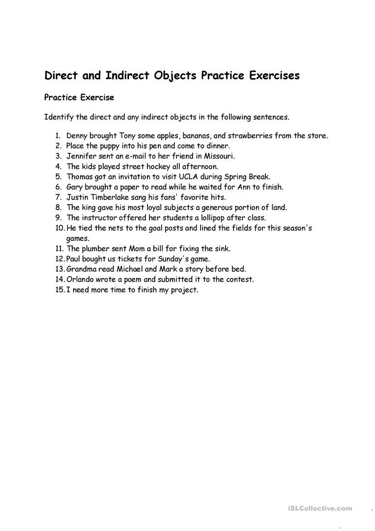 Indirect Object Worksheets Free Worksheets Library | Download and ...