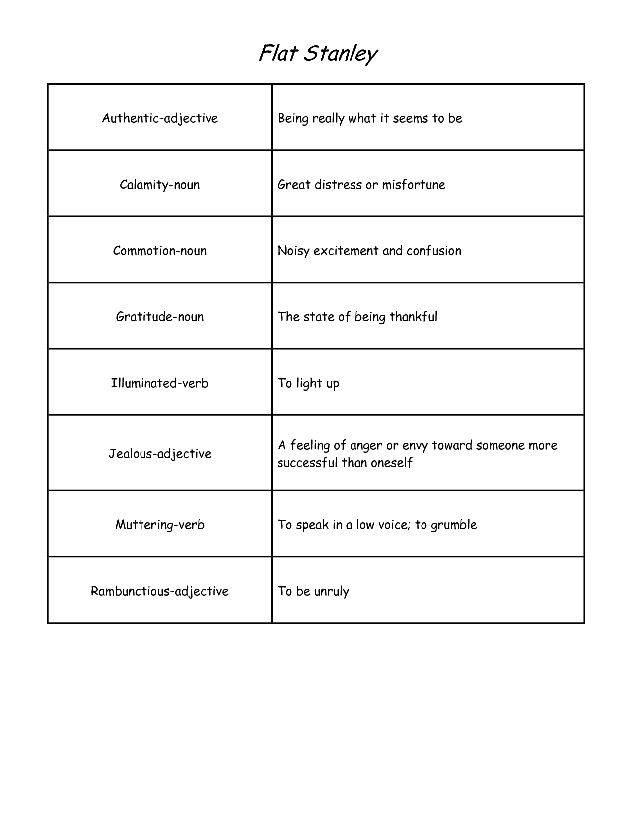Flat Stanley Vocabulary Worksheets