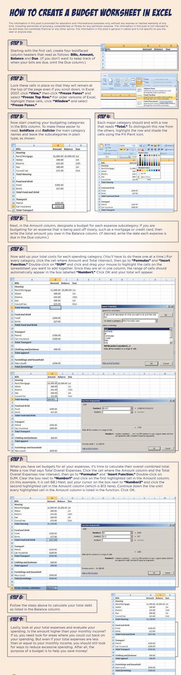 Le Rn How To Cre Te Budget W Ksheet Excel Step By Step