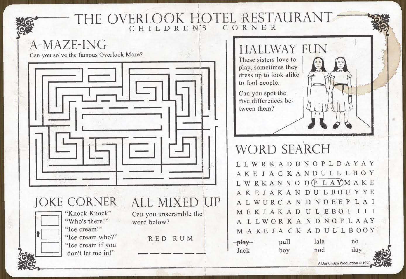 The Overlook Hotel Restaurant Children S Corner Placemat